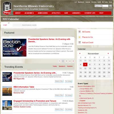 Screen-capture of the new all-university calendar