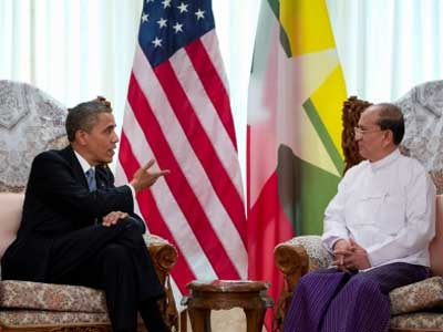 President Barack Obama holds a bilateral meeting Monday, Nov. 19, with President Thein Sein of Burma at the Burma Parliament Building in Rangoon, Burma. (Official White House Photo by Pete Souza)