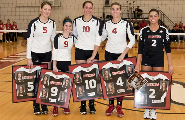 Volleyball seniors Sam Grams, Sue Hayes, Mary Kurisch, Meghan Romo and Amber Walker.