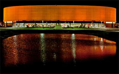 The NIU Convocation Center turns orange with pride.