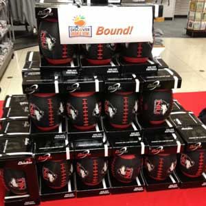 Photo of a stack of black NIU footballs for sale at the University Bookstore.