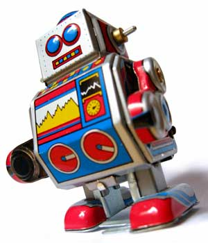 Photo of a vintage toy robot