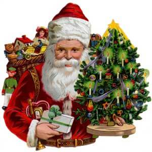 Image of Santa Claus with Christmas tree, presents