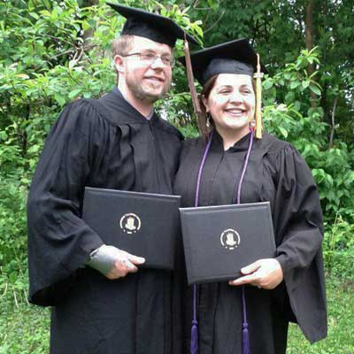 Katie Seelinger and her husband, Dustin, at graduation in May 2012.