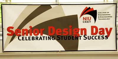 Photo of a Senior Design Day banner