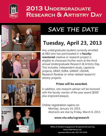 2013 Undergraduate Research & Artistry Day Save the Date poster