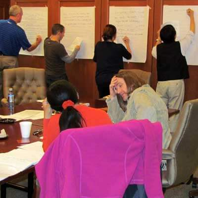 CTP fellows work on the development of revised course goals and student learning outcomes at the September 2012 meeting.