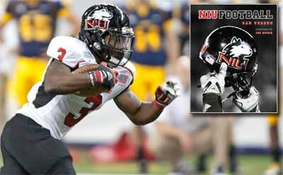 "Composite image of Akeem Daniels and book cover of ""NIU Football"""
