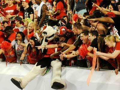 Victor E. Huskie jumps into the stands at Sun Life Stadium.