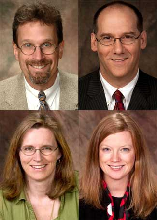 Clockwise, from top left: David Changnon, Cliff Mirman, Julia Spears and Lesley Rigg.