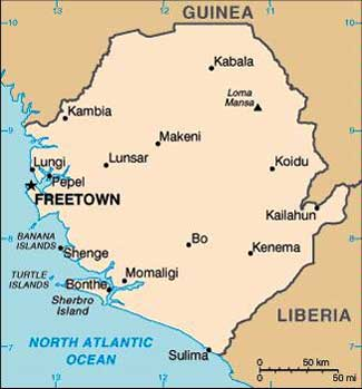 Sierra Leone on the map