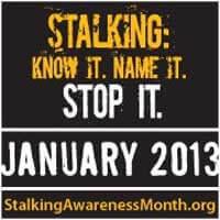 Stalking Awareness Month logo