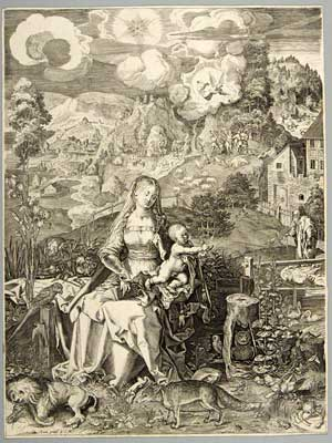 """Virgin and Child with a Multitude of Animals"" (c. 1597) by Aegidius Sadeler II (after Albrecht Dürer)"