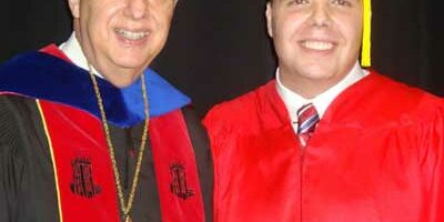 NIU President John Peters and John Gosciniak at the December commencement ceremony.