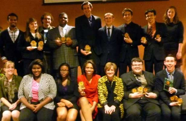 Members of the forensics team who competed at the College of DuPage included (back row, left ro right) Jomin Panicker, Julia Boyle, Neal Heatherly, Bernard Chestleigh, Chris Michels, Crispin Brim, Kevin Bartelt, Kyle Larson, Nicole Autry, (front row, left to right) coach Lisa Roth, Lauren Baker, Felisa Ogunyemi, Lauren Scott, coach Judy Santacaterina, Jimmy Zucker and Bobby Browning.