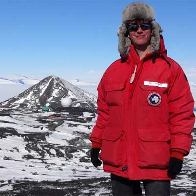 NIU geology major Brian Guthrie in Antarctica.