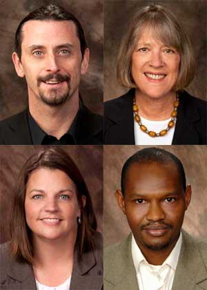 Clockwise, from top left: Mark Schuller, Susan Russell, Abu Bah and Alicia Schatteman.