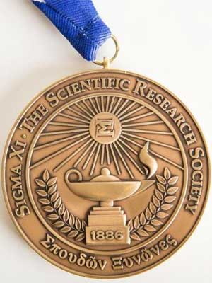 Photo of a Sigma Xi medallion
