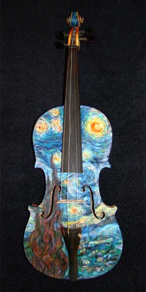 "Violin painted with Vincent van Gogh's ""Starry Night."""