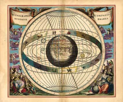 "Artist Andreas Cellarius' ""Ptolemaic World System,"" on loan from the Joel Oppenheimer Gallery."