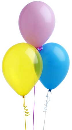 Photo of colorful balloons on strings
