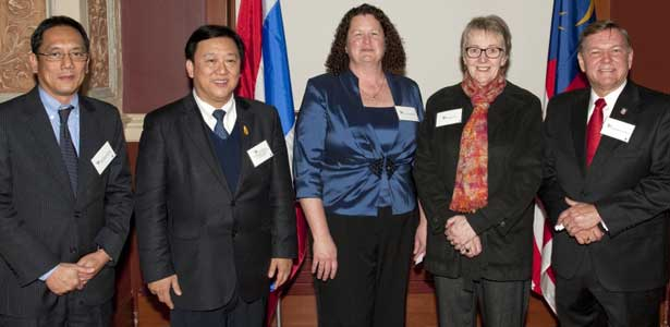 The ambassador of Thailand to the United States, His Excellency Chaiyong Satjipanon, second from left, was among the dignitaries attending the Center for Southeast Asian Studies gala dinner March 2 in Altgeld Hall. From left, the consul general of Thailand in Chicago, the Honorable Songphol Sukchan; the ambassador; Center for Southeast Asian Studies Director Judy Ledgerwood; Anne Kaplan, vice president of Outreach, Engagement and Information Technologies; and Provost Raymond Alden.