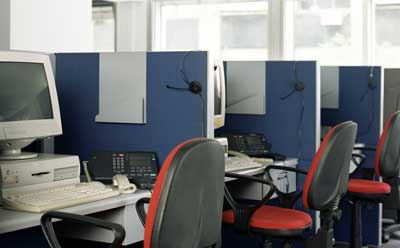 Photo of a row of office cubicles