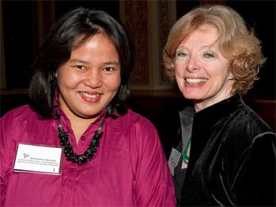 Bernadeta Pratiwi, consul of Education and Information for the Office of Consulate General, Indonesia, joins Deborah Pierce, associate provost for the Division of International Programs at NIU.