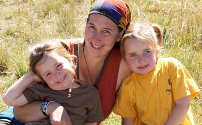 Karen Samonds and her daughters, 6-year-old Ann (left) and 4-year-old Evelyn