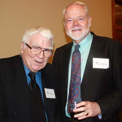 Political science professor emeritus Ladd Thomas, left, one of the founders of the Center for Southeast Asian Studies in 1963, with art historian and professor emeritus Richard Cooler, founder of NIU's Center for Burma Studies.