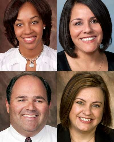 Clockwise, from top left: Latasha Bennett, Sandy Lopez, Nancy Russo and James Cohen