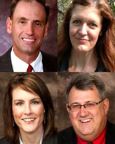 Clockwise, from top left: Timothy Aurand, Rebecca Hannagan, Tim Pierce and Betty La France
