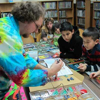 STEM Outreach associate Jeremy Benson recently visited the DeKabl Public Library to demonstrate the new snap circuit kits that are now available for checkout.