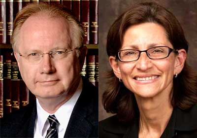 Illinois Supreme Court Chief Justice Thomas L. Kilbride and Jennifer L. Rosato, dean of the NIU College of Law