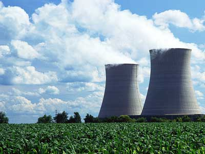 Photo of nuclear power plant cooling towers