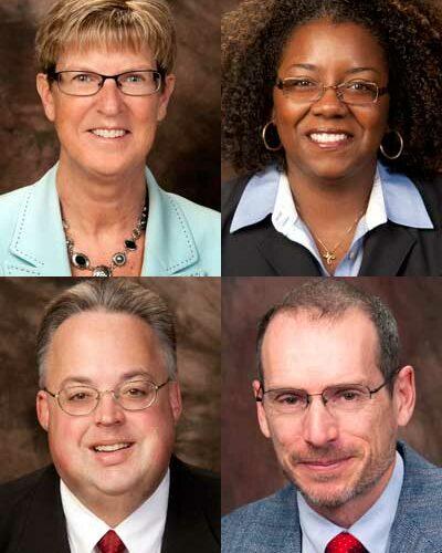 Clockwise, from top left: Sharon Freeman, Shyree M. Sanan, Scott Walstrom and Steve Sarver