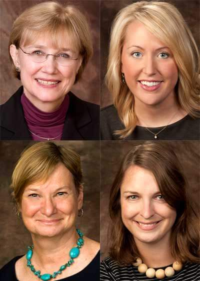 Clockwise, from top left: Beth Towell, Jill Hayes, Michaela Holtz, Anne Birerick.