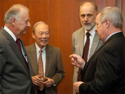 NIU President John Peters, Trustee Bob Boey, next NIU President Douglas Baker and U.S. Sen. Dick Durbin