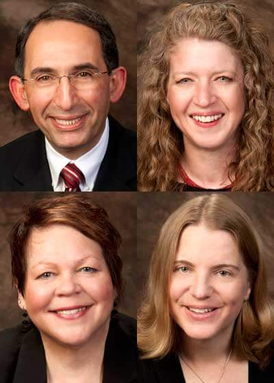 Clockwise, from top left: Terry Borg, Rebekah Kohli, Rachel Xidis and Donna Schoenfeld