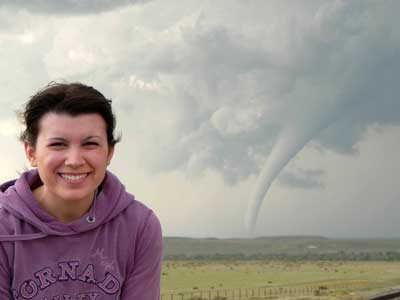 Meredith Wood strikes gold during a storm chasing trip in Campo, Colo.