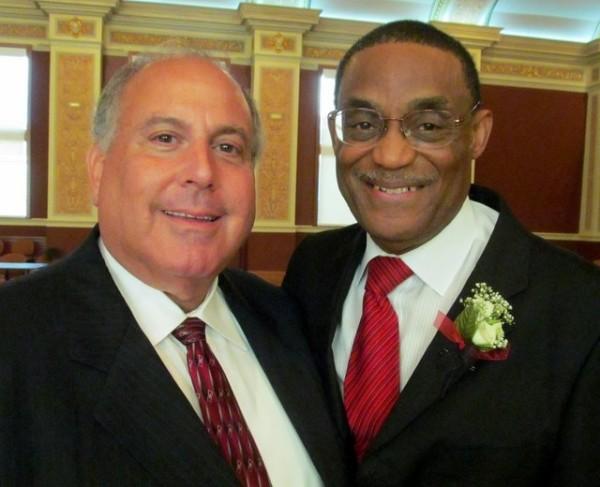 Former NIU Trustee Myron Siegel with Eddie Williams at Williams' May 29 retirement reception (courtesy Northern Public Radio)
