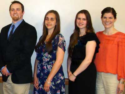 From left: Eric Moore (Mathematical Sciences); Anna Strozza (Foreign Languages & Literatures); Jessica Hellwig (Physics); and Leah Johnson (Geology)