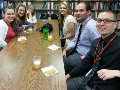 NIU teacher candidates and District 428 mentor teachers socialized before the PDS Celebration at DeKalb's Founders Elementary School.