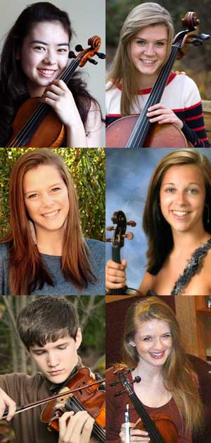 Top row: Hanna Bingham and Erin McGaughey Middle row: Paige Phelps and Danielle Pivonka Bottom row: Owen Ruff and Genevieve Smelser