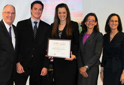 From left: John Thies, ISBA President; Dan Porter (3L), Student Bar Association President; Emily Perkins (2L), Student Bar Association Vice-President; NIU Law Dean Jennifer Rosato; and Illinois Attorney General Lisa Madigan.