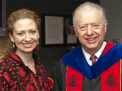 Layli Miller-Muro and NIU President John G. Peters