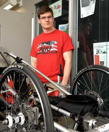 Aaron McKeown, part of the Supermileage Team, a senior in Mechanical Engineering.