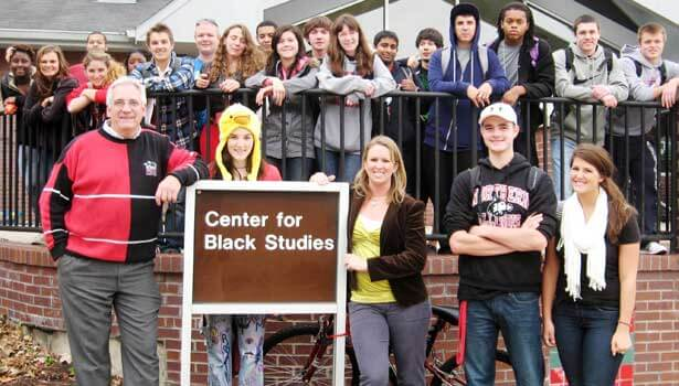 The UNIV 101 class of Andy Small and Connie Storey gathers ouside the Center for Black Studies last fall.