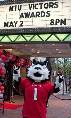 Victor E. Huskie is ready to party!