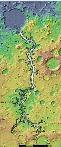 An enhanced shaded relief image of Ma'adim Vallis, an outflow channel on Mars stretching more than 400 miles flowing north into the Gusev crater, near the equator. The channel is thought to have been carved by flowing water early in the history of the red planet. Gray tone indicates channel depth. (Image created with NASA data)
